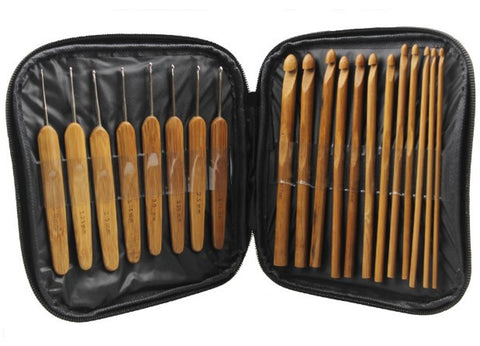 20-Piece Bamboo Crochet Hook Set With A Case