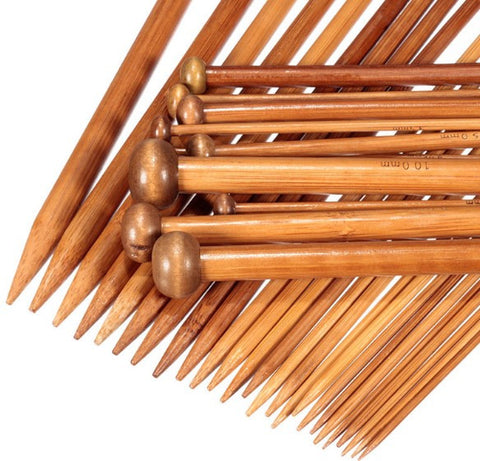 36-Piece Bamboo Single Pointed Knitting Needles Set