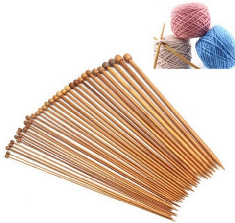 36-Piece Carbonized Bamboo Single Pointed Knitting Needles Set  [FREE + Shipping]