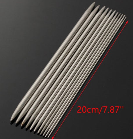 55-Piece Stainless Steel Double Pointed Knitting Needle Set