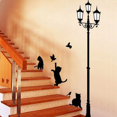 Antique Street Lamp With Playful Cats And Birds Wall Sticker