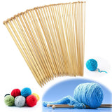 36-Piece Bleached Bamboo Single Pointed Knitting Needle Set