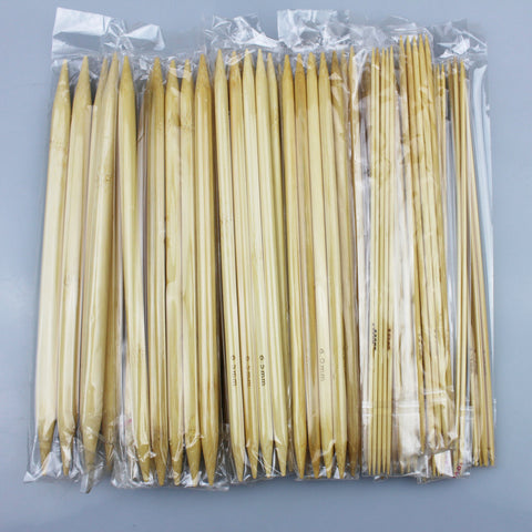 55-Piece Bleached Bamboo Double Pointed Knitting Needle Set