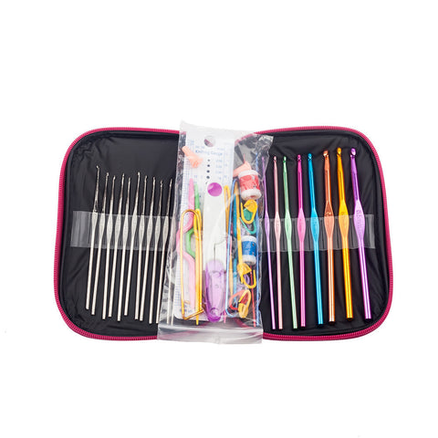 22 PCS MultiColor Crochet Hooks with Leather Case