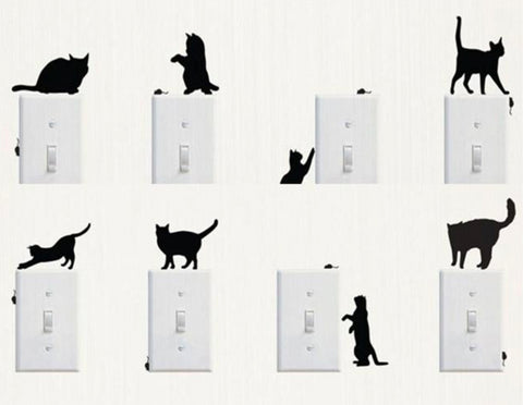 Fun Cat Light Switch Wall Sticker