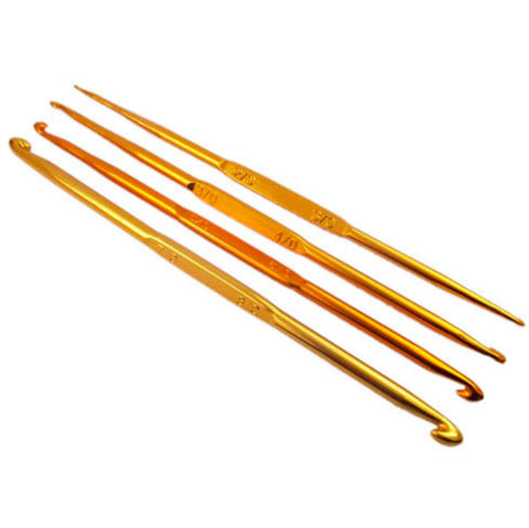 Gold Double Pointed Aluminum Crochet Hooks