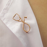 Delicate Gold Plated Stethoscope Pin
