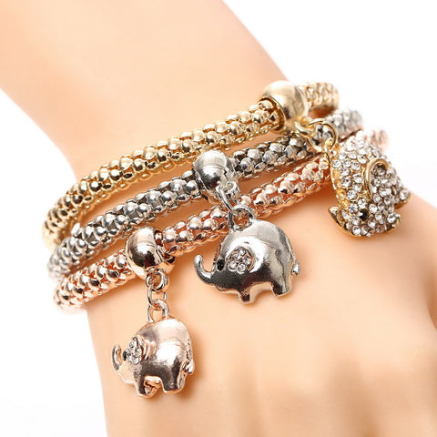 Triple Elephant Charm Bracelet Set