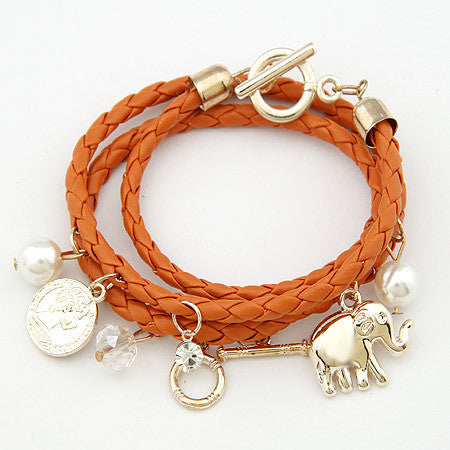 Leather Elephant Charm Bracelet