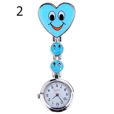 Nurse Heart Fob Watch with Smiling Faces
