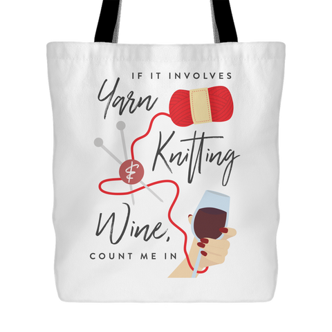 Exclusive Yarn, Knitting & Wine Tote Bag