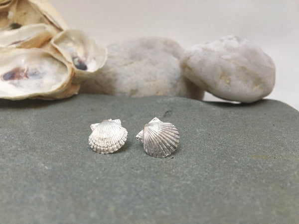 Tiny Scallop Stud Earrings