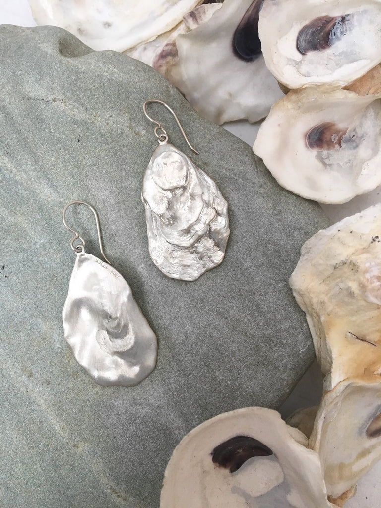 Flat Oyster Dangle Earrings