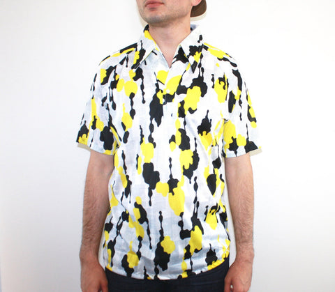 70's Trippy Yellow and Black Short Sleeve Shirt