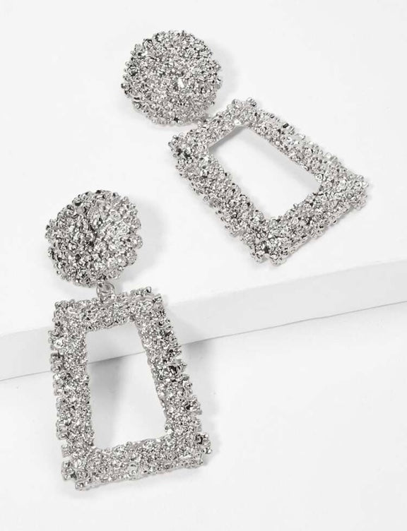 Silver Geometric Tectured Earrings