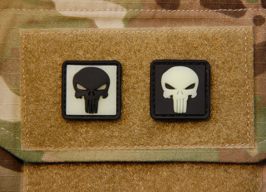 Glow-In-The-Dark Punisher Skull PVC Patches