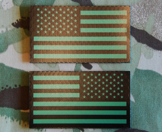 IR US Flag Green & Black Patch Set