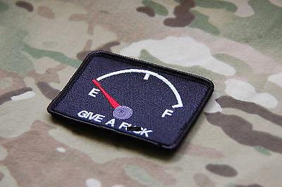 GIVE A FUCK Empty Fuel Gauge Embroidered Morale Patch