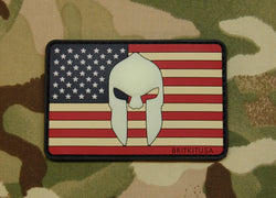 3D PVC US Spartan Helmet Flag Morale Patch