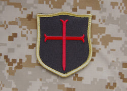 Embroidered Crusader Shield Patch Black & Red