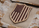 US Flag Shield Morale Patch - Desert