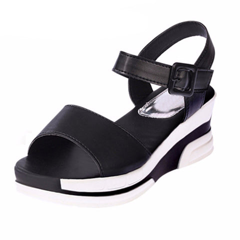 Women Soft Leather Open Toe Gladiator wedges Summer Sandals- www.jhodaj.com