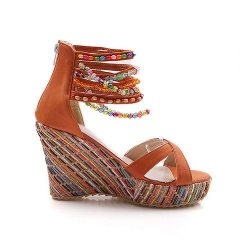 Women's High Heel Wedge Sandals Fashion Color Beaded Chain Thick Crust Muffin Sandals- www.jhodaj.com