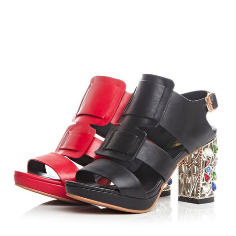 new style Women leather sandals rhinestone heels- www.jhodaj.com