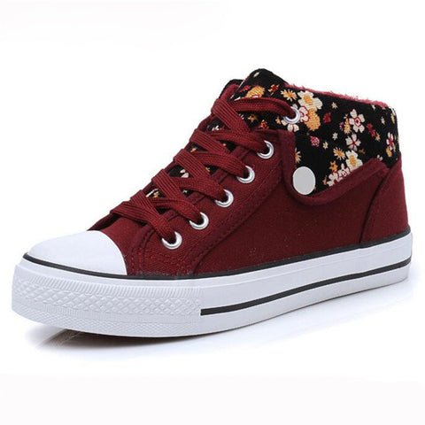 Canvas Shoes Women Flowers High Top Flat Platform- www.jhodaj.com
