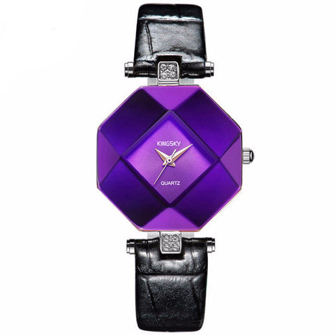 KINGSKY Women Watches Purple Crystal Case Leather Band Luxury Quartz Watch- www.jhodaj.com