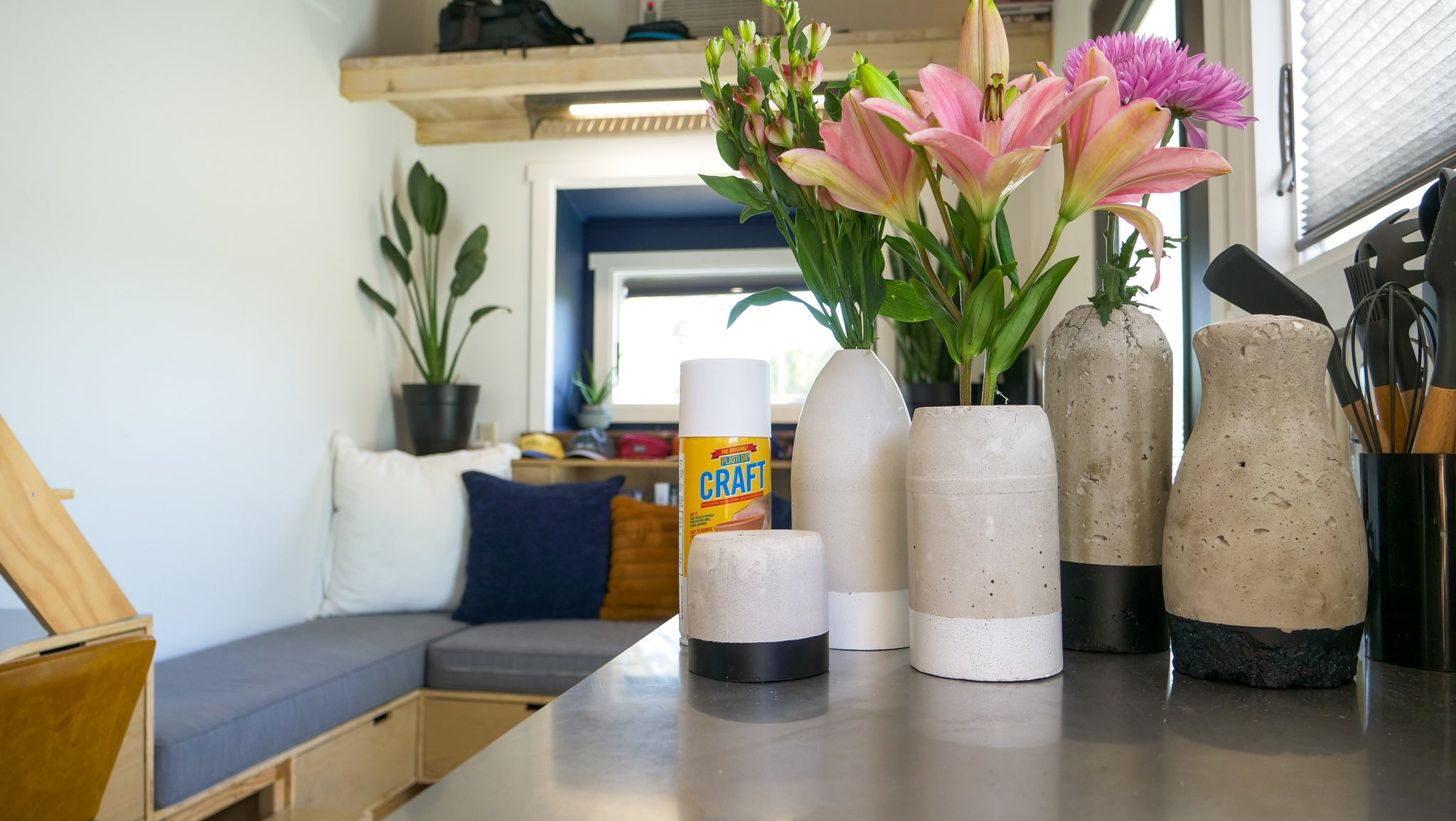 How to Make DIY Concrete Vases with Protective Bottom Coat!