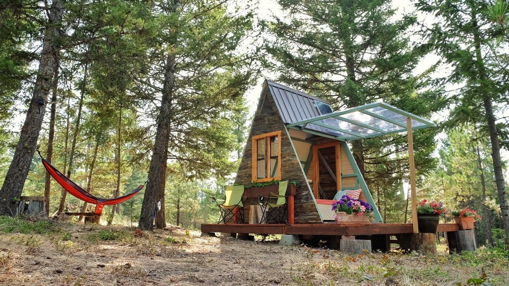 Tiny A-Frame Cabin built by couple for just $700 in only 3 weeks