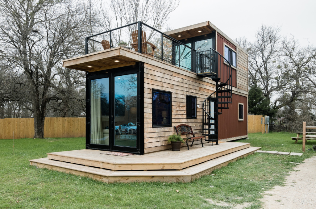 """The Helm"" 2-Story Container House for rent on Airbnb in Waco, TX"