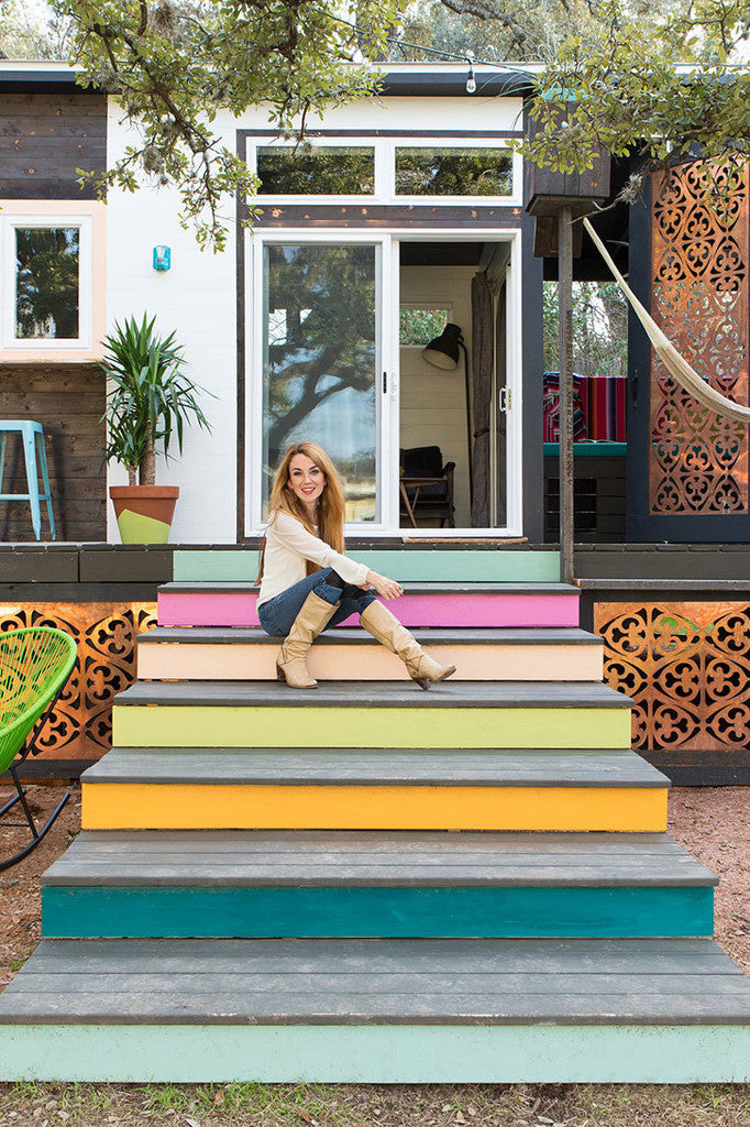 "400-sqft Colorful 2-Trailer ""Mid-Century Marfa"" Tiny House in Austin"