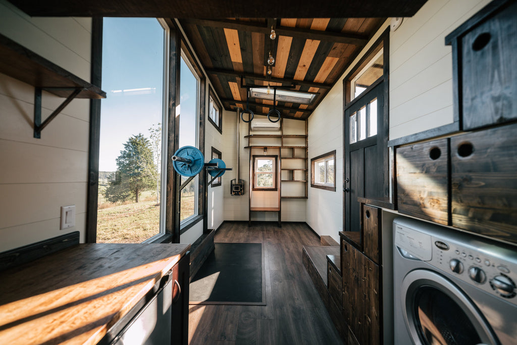 the silhouette by wind river tiny homes a crossfit gym in your tiny rh dreambiglivetinyco com Small Gym Tiny High School Gym