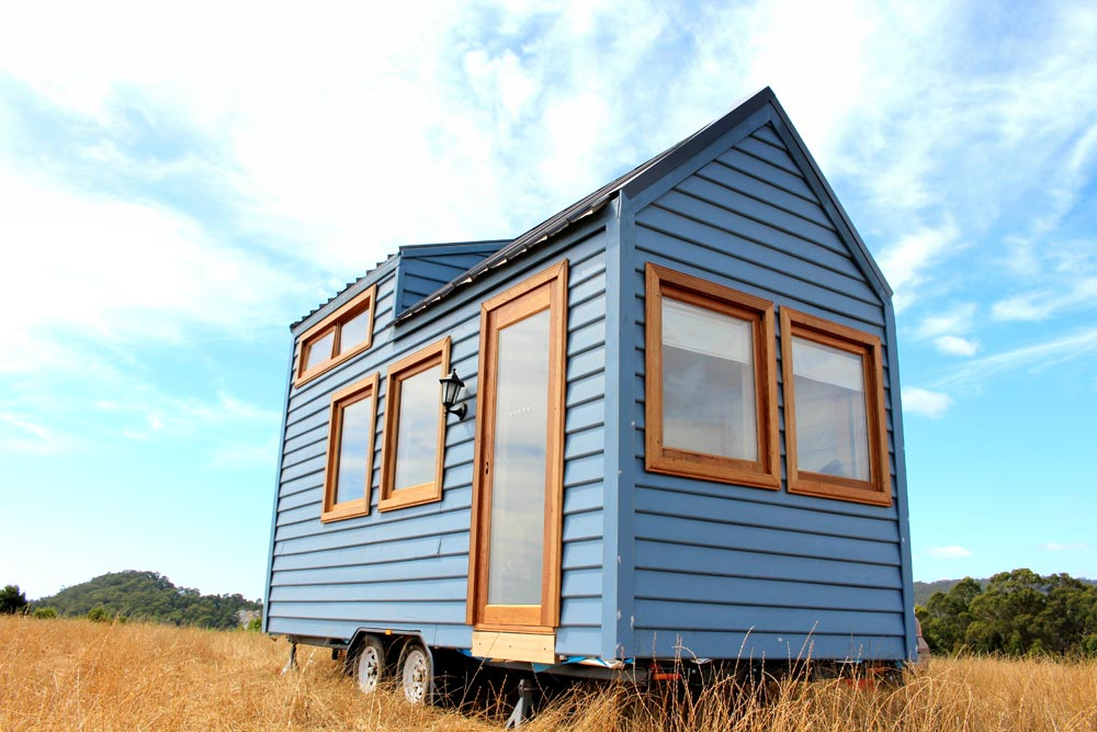 "18' ""Colonial Blue"" Tiny House on Wheels by Wagonhaus Co."