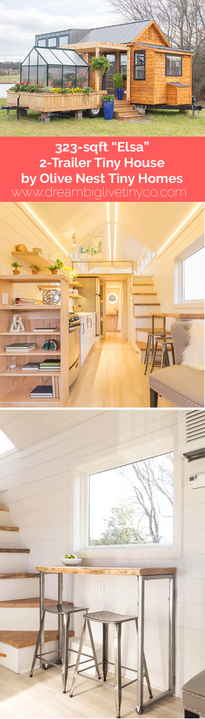 "323-sqft ""Elsa"" 2-Trailer Tiny House by Olive Nest Tiny Homes"