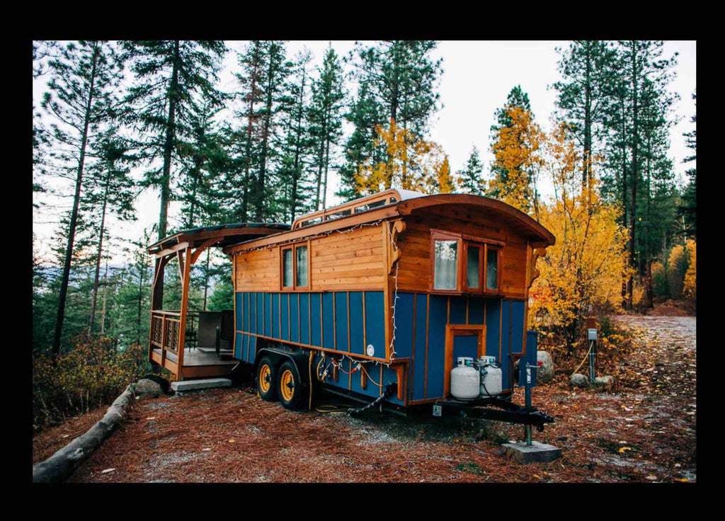 Blue Gypsy Wagon Tiny Home on Wheels for rent on Airbnb in Leavenworth, Washington
