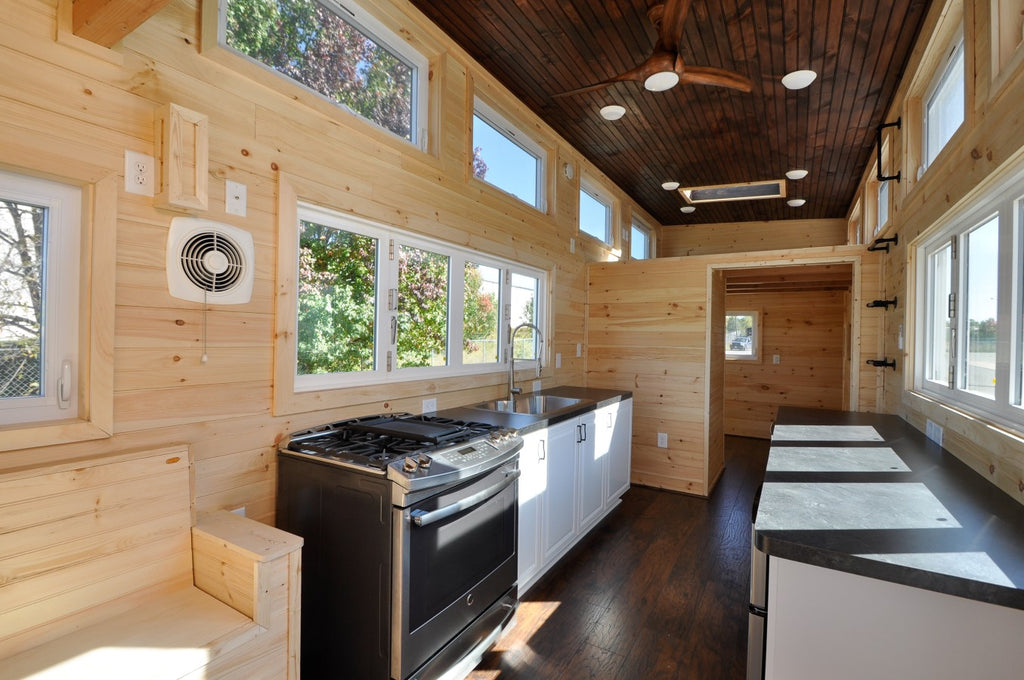 "28' ""Hillside"" Tiny Home on Wheels by Tiny House Building Company on tiny house plan books, tiny beachfront homes, tiny lakefront homes,"
