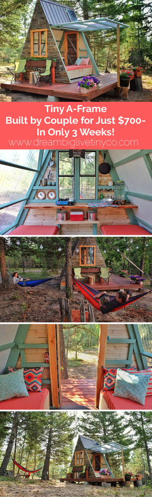 Tiny A-Frame Cabin Built by Couple for Just $700—In Only 3 Weeks!
