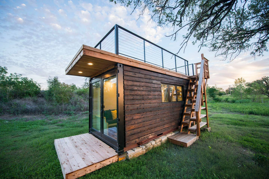 """Yellow & Blue"" Container Home for rent on Airbnb in Waco, Texas"