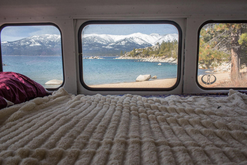 Blue Bus Adventure - Interior Bed with view of mountain