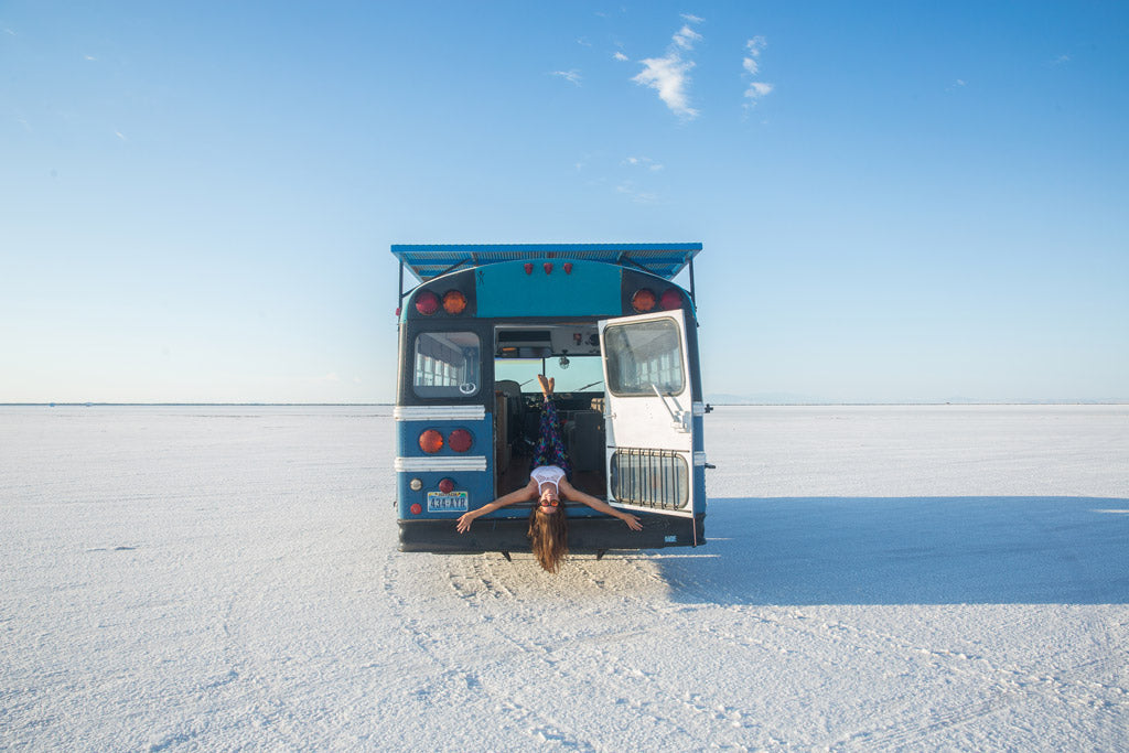 Blue Bus Adventure - Jessica in Salt Flats 1