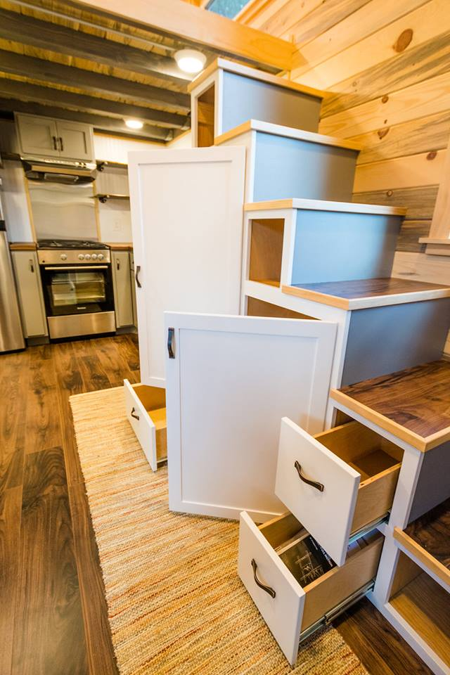 24' Custom Tiny House on Wheels by Mitchcraft Tiny Homes- Stairs