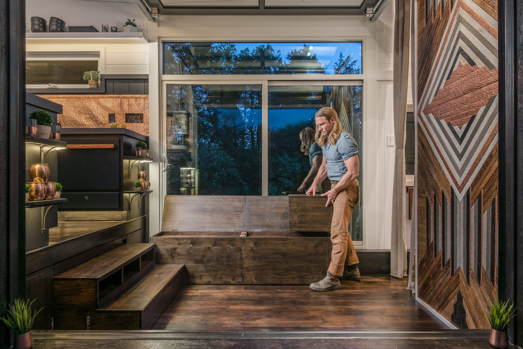 Escher Tiny House on Wheels by New Frontier Tiny Homes - Living Room