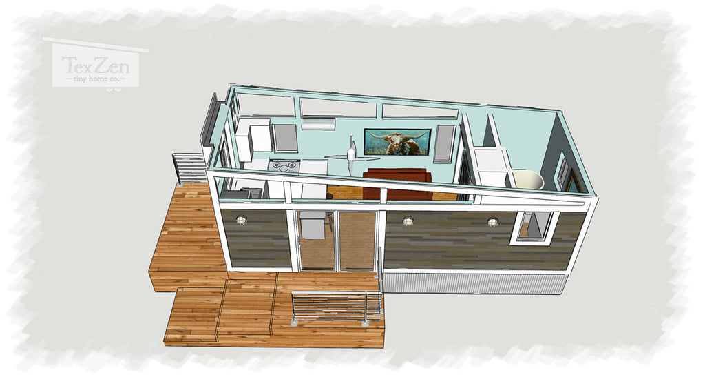 Tex Zen Tiny Home Co. - Open Concept Floor Plan 3