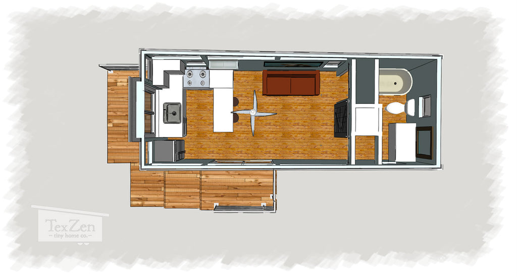 Tex Zen Tiny Home Co. - Open Concept Floor Plan 4