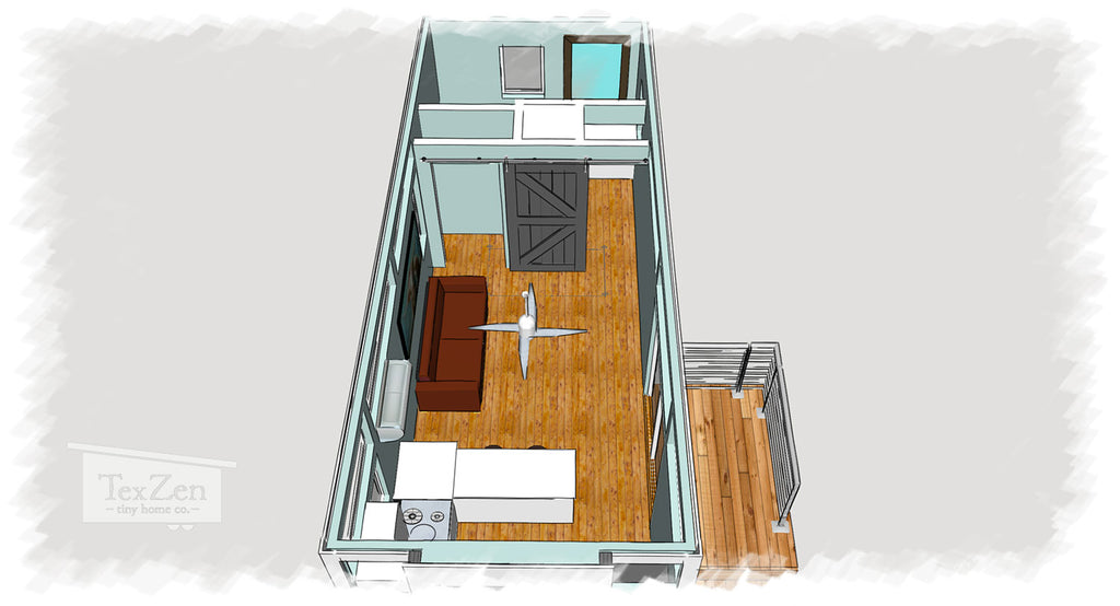 Tex Zen Tiny Home Co. - Open Concept Floor Plan 7