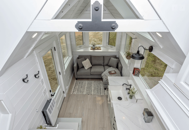 The Heritage Tiny House on Wheels by Summit Tiny Homes - View from Bedroom Loft