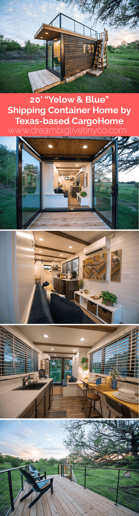 "20' ""Yellow & Blue"" Shipping Container Home by Texas-based CargoHome"
